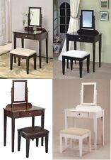 2 Pc Space Saver Wood Vanity and Makeup Table w/ Marble Bench Mirror Set NEW