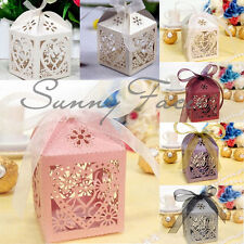 1/10/50/100 Pcs  Love Flower Laser Cut Gift Candy Boxes  Ribbon Wedding Favor Bo