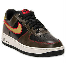 Nike Air Force 1 Casual Leather Shoes Mens Size 8 Black Brown Gold 488298 075