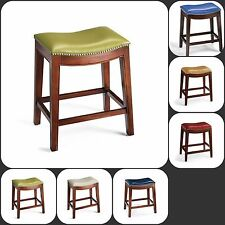 """24"""" Counter H. Bi-cast Leather Curve Saddle-back Stool w/ Brushed-Nickel Accents"""