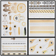 New Arrival 1pc Gold Black Silver Temporary Metallic Tattoo Jewel Fashion Flash