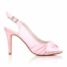 CHLOE Baby Pink Satin Stiletto High Heel Slingback Bridal Peep Toe Shoes