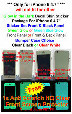 "iPhone 6 4.7"" Glow in the dark Skin Sticker Package, Bumper Case + Protector"