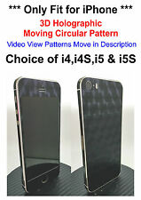 3D Holographic Moving Circles Pattern Decal Skin Sticker For iPhone 4, 4S, 5, 5S