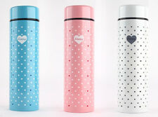 070637Womens Small Cute Pink Dot Insulated Vacuum Thermos Flask Water Bottle Cup