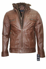 CLARK Mens Brown Hooded Casual Stylish Designer Bikers Real Soft Leather Jacket