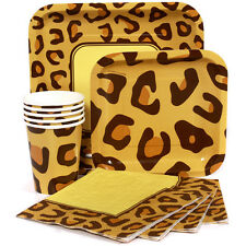 Cheetah/Leopard Print Party Supply Sets-Napkins Plates Cups