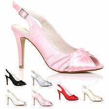 LADIES WEDDING SHOES WOMENS GIRLS PROM HEELS SATIN BRIDAL BRIDESMAID SANDAL SIZE