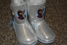 Disney FROZEN Anna & Elsa girls silver soft boots shoes NEW