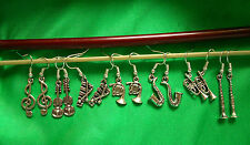 Plated Or Sterling Silver Orchestra / Jazz Musical Instrument Earrings