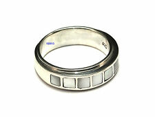 New Ladies Sterling Silver Mother Of Pearl Heavy Ring 6mm UK Sizes 925 Hallmark