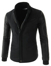 (NEJ) Mens Casual China Collar Quilting Arm Synthetic Leather Patched Jacket