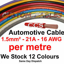 1m AUTO CABLE, 21 AMP CAR WIRING LOOM WIRE, 21A AUTOMOTIVE Kit  - 12 Colours