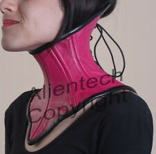 Real Leather Under Chin Neck Corset Bright Pink S-XL