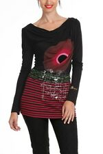 Beautiful Desigual Allie Long Sleeve Boat Neck Black T-Shirt