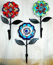 NWT DECORATIVE FLORAL CERAMIC TILE FLOWER WALL HOOK HANGER HAND PAINTED