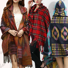 Women Toggle Cape Coat Fringe Poncho Hoodie Hooded Jacket Bohemian Shawl Scarf