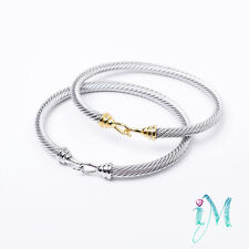 women's Stainless Steel Silver Cable Bracelet with Free Shipping &Gift box