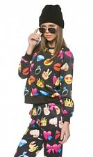 New Hot Smiley Faces Emoji Fun Long Sleeve Sweater top shirt in Black cute sexy