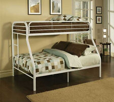 New Metal Bunk Beds Kids Twin Over Full Bed Frame With 2 Matching Mattresses