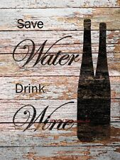 Save Water, Drink Wine Matted Picture Kitchen Art Home Decor Print A704