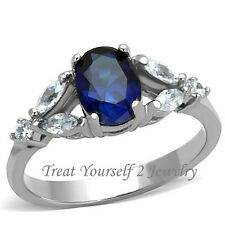 CZ Blue Cocktail Ring Stainless Steel AAA CZ Silver Tone Size 6-10 Free Shipping