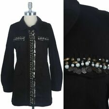Beaded Military Style Canvas Jacket Full Zippered Snap Buttons 4 Pockets S M L