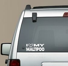 I Heart my Maltipoo decal sticker - puppy treat maltese poodle mix