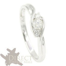 0.2ct 9ct Real White GOLD Round Cut GENUINE DIAMOND Engagement Ring Full Size