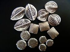 Thai Karen Hill Tribe handmade 925 Sterling Silver Flat Beads Curved Oval Square