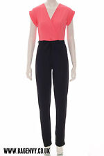 NEW SS14 Womens Celeb Inspired Envy Coral Black Jumpsuit Size 8 - 16