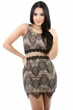For Love And Lemons Celeb Inspired Grace Mesh Insert Nude Lace Bodycon Dress