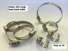 PK OF 10 TRIDON HOSE CLIPS 325 S/S 8mm BAND PLATED CARBON SCREW **CHOOSE SIZE**