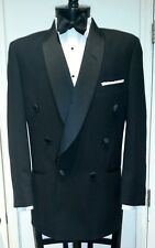 Mens Black Double Breasted Shawl Round Lapels Tuxedo Jacket Wool, Cheap 90s 80s
