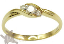 9ct Real GOLD 0.2ct Round Cut GENUINE White DIAMOND Three Stone Engagement Ring