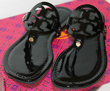 Size 7 NWB AUTH TORY BURCH MILLER Patent Leather Flip Flops Sandals Black