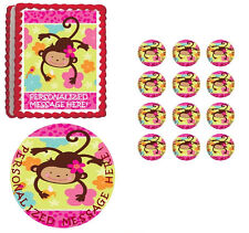 MOD Monkey Love First Birthday Baby Shower Edible Cake Topper- All Sizes!