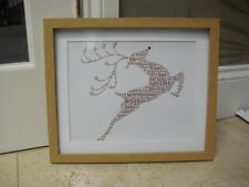 Personalised Christmas Reindeer Words of Art with frame /diamontes if requested.