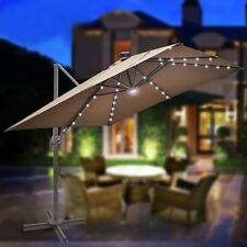 10'x10' EXECUTIVE ROME PATIO UMBRELLA CANTILEVER SQUARE SOLAR POWERED WITH BASE