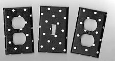 Black with White Polka Dots Light Switch Cover and Electrical Outlet Plates