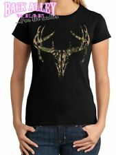 CAMO DEER SKULL LADIES Junior T-Shirt Deer Hunter ~ Camouflage Buck