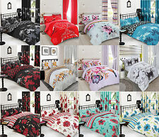 8PC Bumper Set Duvet Cover & Pillow Cases, Fitted Sheet, Curtain, Double & King