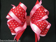 Valentines Day Boutique Pink Red Polka Dot Rhinestone LG Hair Bow Clip Headband