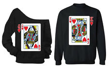 Couple Sweater Playing Cards King Queen Crewneck Off Shoulder Valentine's Day