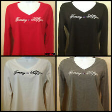 Tommy Hilfiger Womens Deep V Neck Long Sleeve Signature Bling T Shirt,BNWT
