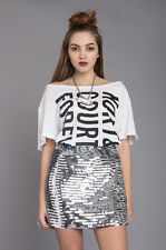 Motel Rocks Women's Silver Sequin Tab Mini Skirt RRP £40