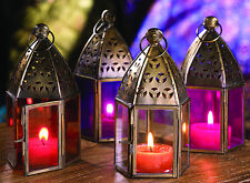 MOROCCAN MINI IRON & CLEAR GLASS LANTERN CANDLE TEALIGHT HOLDER / HOME & GARDEN