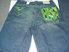 COOGI MENS BLUE SHORTS NWT TRIBAL MAN DESIGN ON BACK POCKET