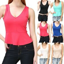 V-Neck Peplum Cropped Tank Top Sleeveless Solid Cute Polyester Rayon Span S M L