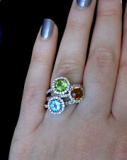 Halo Gemstone surrounded by Diamonds in 14K Gold Rings Stackable or Stand Alone